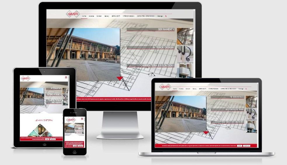 Progettazione e realizzazione restyling sito web Giusti Costruzioni Metalliche, ottimizzato per i dispositivi mobili e per i motori di ricerca
