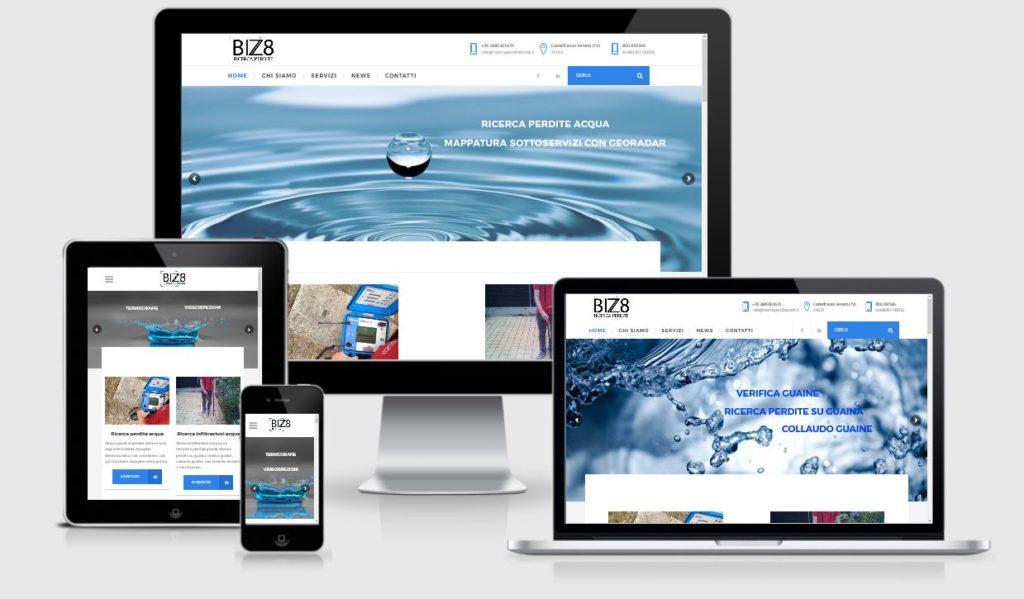 Nuovo sito internet in responsive design sviluppato su piattaforma WordPress realizzato da 3DPrestige Studio Web Treviso per il cliente Bizzotto RIcerca Perdite