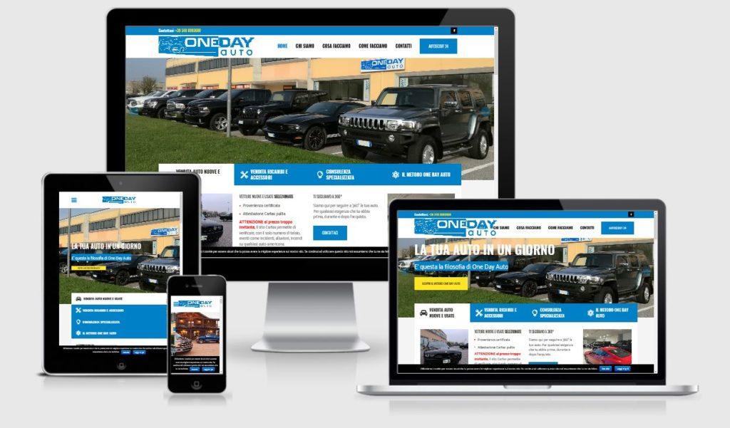 Realizzazione nuovo sito internet per il cliente One Day Auto Srl - responsive design