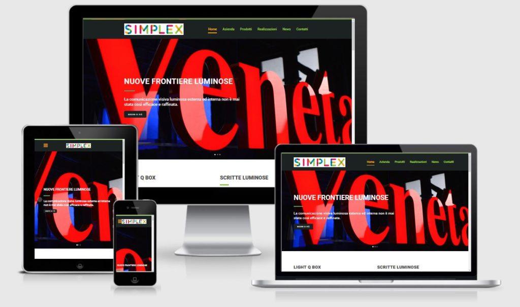 Progettazione e creazione nuovo sito web per Simplex Srl sistemi luminosi Treviso