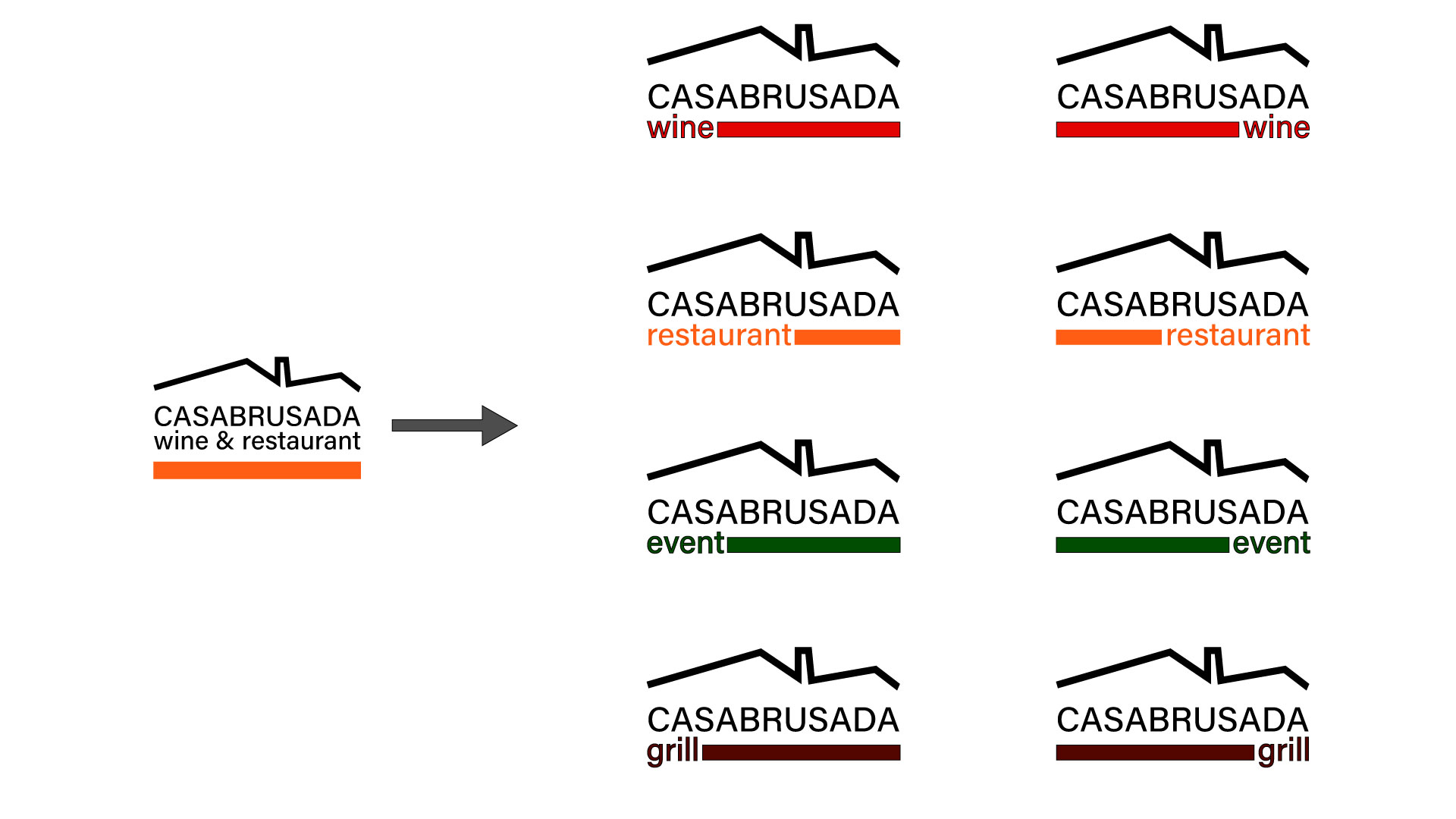 4 varianti logo Casa Brusada